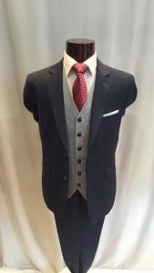 Cavani Navy Slim Fit Suit w/Tweed waistcoat